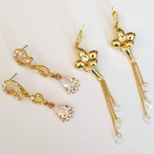 Gold and crystal earrings (2 pairs)